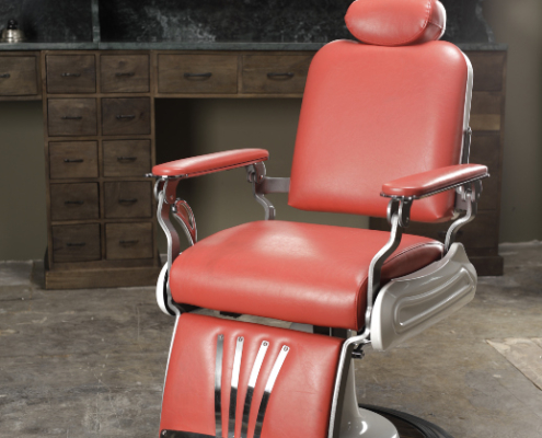 Red barber chair | Old school barber chairs | Vintage chairs | Barber furniture | Interior