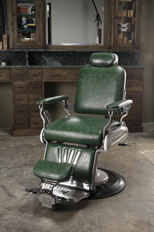 Green barberchair | Barber chairs | Oldschool barberchair | Barber furniture